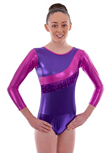 Sleeved Star (Deluxe 'Jazmin' Metallic Pink & Velour Purple Stripe Glittered Stars Girls Gymnastic Sleeved Leotard (9-11 Years))