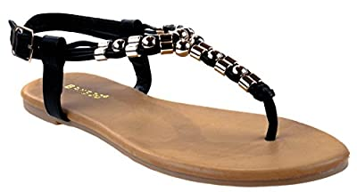 Bamboo Shoes Women's Sundance-13S Slingback Buckle Closure with Decorative Studs on T-Strap