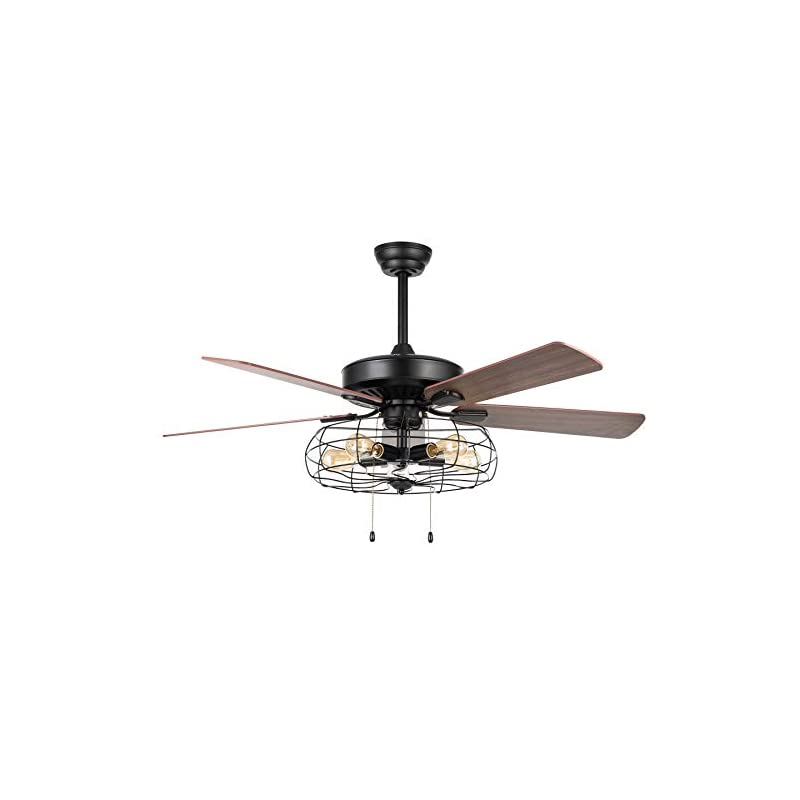 VONLUCE 52'' Industrial Ceiling Fan with Lights, 5 Light Farmhouse Ceiling Fan Rustic with Cage Shade & 5 Cherry and…