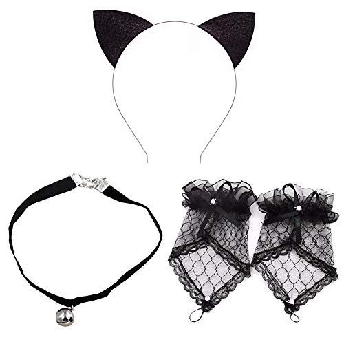 Pop Your Dream Helloween Cosplay Costume Set with Cat Ears Headband Lace Glove Bell Necklace Set