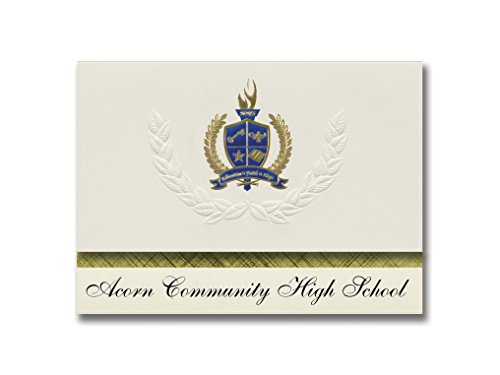 Signature Announcements Acorn Community High School (Brooklyn, NY) Graduation Announcements, Presidential style, Elite package of 25 with Gold & Blue Metallic Foil seal ()