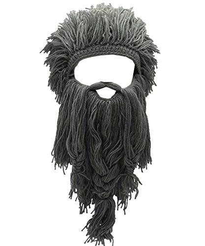 YEKEYI Barbarian Knit Long Beard Hat Adult Viking Fake Hair Wig Visor Knitted Wool Funny Skull Cap Gray ()