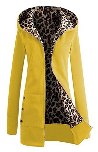 COMVIP Women Open Front Hoodies Fleece Long Sleeve Warm Sweatshirt Yellow