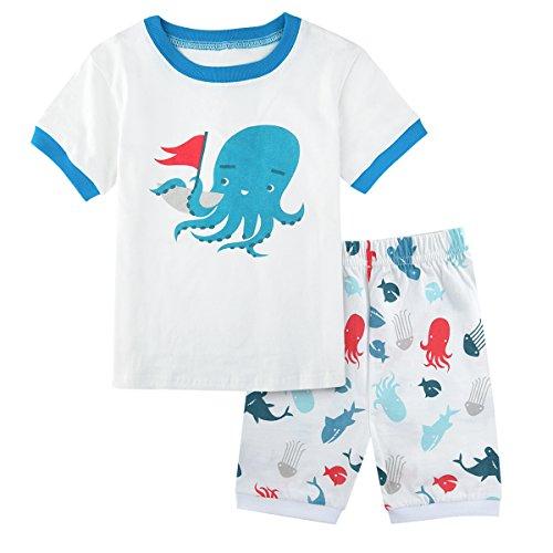 A&J DESIGN Kids Boys Octopus Pajamas Summer Sleepwear Sets (4T, Octopus) -