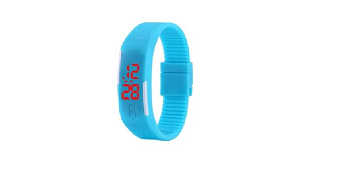 c35ff03e7 Buy Rabela Led Digital Jelly Magnet Lock Plastic Band Wrist Watch For  Unisex - Sky Blue - Rmgskblu Online at Low Prices in India - Amazon.in