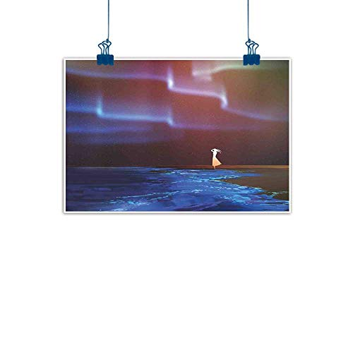(Sunset glow Artwork Office Home Decoration Fantasy,Woman on Beach Psychedelic Design Aurora Borealis Sky Star Nature Picture Print,Blue Purple Home Decorations Modern Stretched and Artwork 36