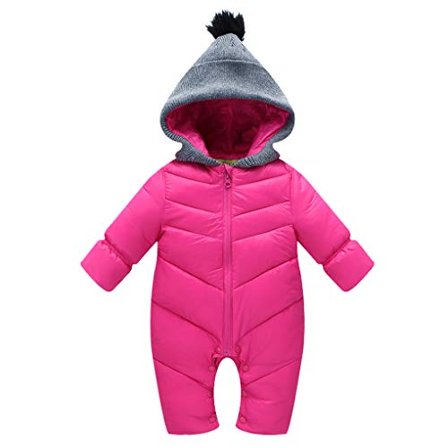 9cd329144 Uobzyaq Baby Boys Girls Hooded One-Piece Puffer Winter Down Snowsuit  Jumpsuit Overcoat Rose Red Size M (6-12 Months)