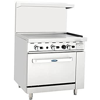 "CookRite ATO-36G Commercial Restaurant Griddle 36"" Stainless Steel With Oven Cooks Standard Natural Gas Range - 102,000 BTU"