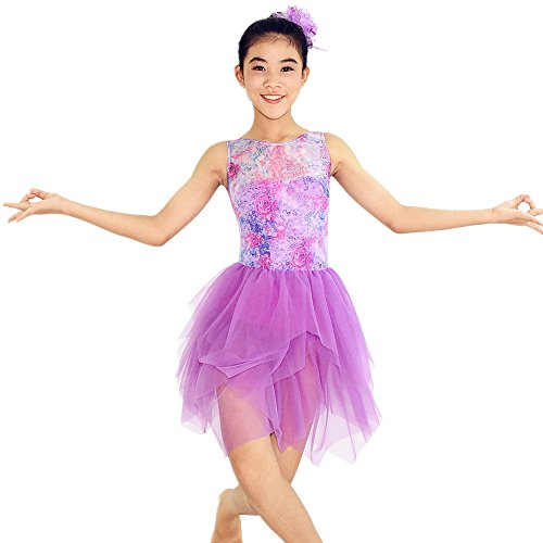 MiDee Girl's Sleeveless Sequin Stage Dance Dress Lyrical Dance Dress (IC, Lilac) (Dance Costumes For Competition Lyrical)