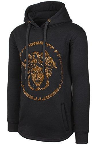 - JC DISTRO Mens Hipster Hip Hop Rhinestone Medusa Graphic Hoodie W/Side Zipper Black XXL