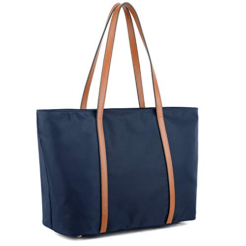YALUXE Tote for Women Leather Nylon Shoulder Bag Women's Oxford Nylon Large Capacity Work fit 15.6 inch Blue
