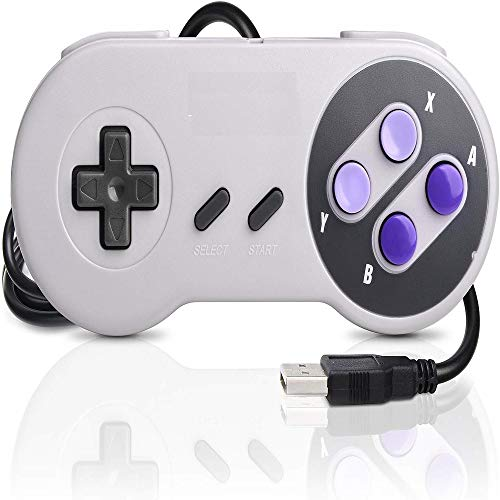 DOORGA 5.8 feet Classic USB Wired Controller for NES Gaming, Retro Game Pad Joystick Raspberry Pi Gamepad for Windows PC Mac Linux RetroPie NES Emulators Purple Button