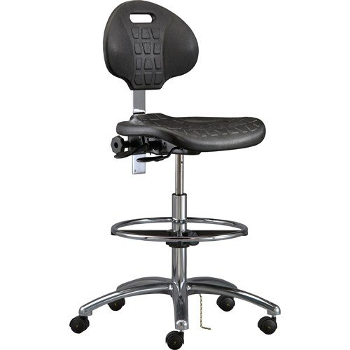 Bevco 7551E Class 10 Certified Cleanroom Ergonomic ESD Chair, Tilt Back Adjustment, 18'' Dia. Adjustable Chrome Footring, Polished Aluminum Base, 20-1/2''to 30-1/2'' Height Adjustment by Bevco