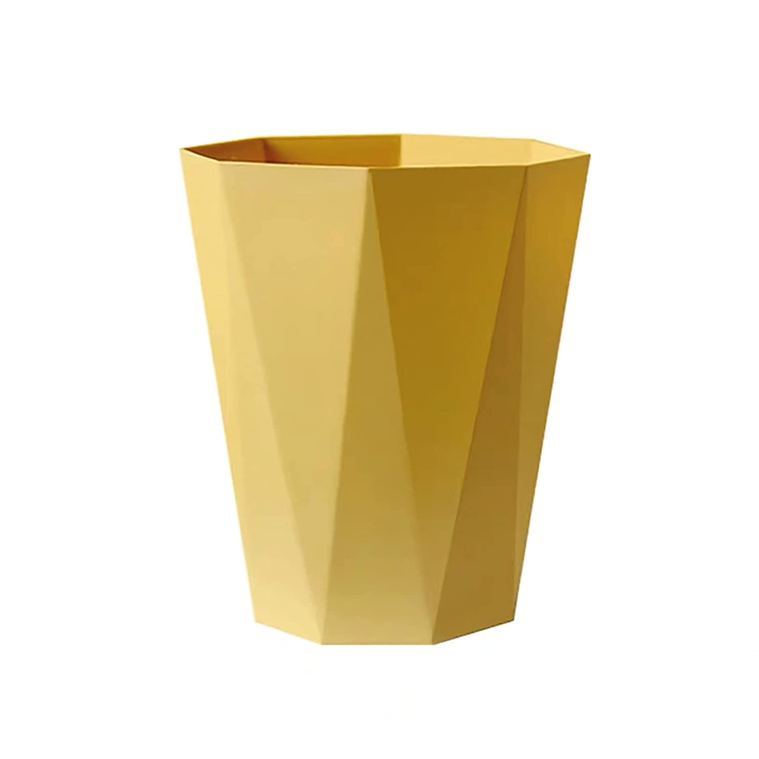 Zentto Spruce Sleek & Stylish Polygon Plastic Small Trash Can Wastebasket, Garbage Container Bin for Bathrooms, Kitchens, Home Offices, Kids Rooms (Mustard Yellow-L)