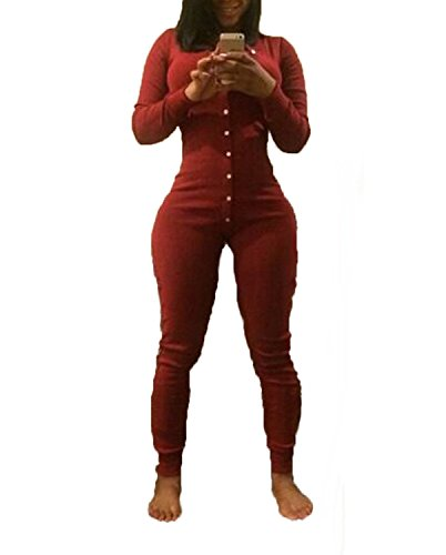 Deep Neck V Pants Red Lora Jumpsuit Sleeve Aro Down Women's Stylish Button Long qRUwWXp0