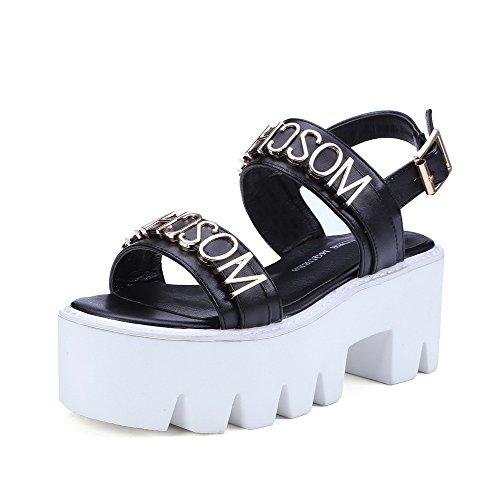 AllhqFashion Women's Solid Pu Kitten Heels Open Toe Buckle Sandals Black 9AapZ