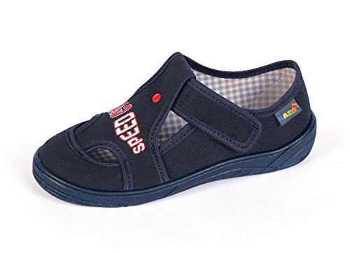 Yaro - Zapatillas de estar por casa de algodón para niño negro 018Schwarz ABBlau/speed