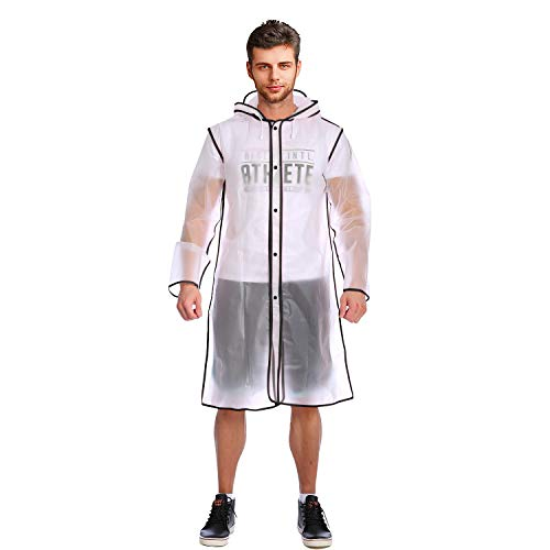 ACVCY Rain Poncho for Men,Disposable Lightweight Rain Jacket with Drawstring Hood, Women Clear Transparent Rain Coat with Hood Rain Jacket ()