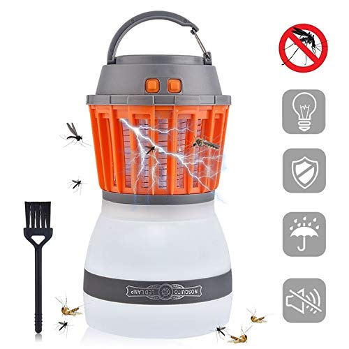 2 in 1 Portable UV LED Camping Light Solar Power Mosquito Killer Lamp Mosquito Zapper Lantern USB Charging Outdoor Garden Party   Lamp and Brush