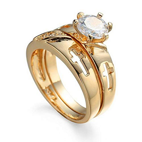 Endicot Round Hollow Cross Band Womens 14kt Yellow Gold Fil Ring Sets Size 6-10 | Model RNG - 31985 | 8 ()