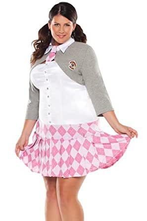 Coquette Women's Prep School Girl, White/Pink, Small/Medium