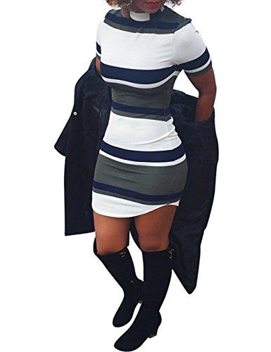 Ninimour Womens Stripe Print Slim Fit Bodycon Mini Dress