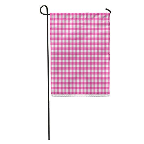Semtomn Garden Flag Abstract Gingham in Red Breakfast Checkered Checks Country Detail Drapery Home Yard House Decor Barnner Outdoor Stand 12x18 Inches Flag ()