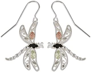 product image for Black Hills Silver Dragonfly Earrings with Onyx and Cubic Zirconia