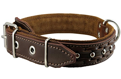 "Genuine Leather Braided Studded Dog Collar, Soft Suede Padded Brown 1.5"" Wide. Fits 17""-21"" Neck."