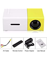 Salange YG300 LED Projector 600 Lumen 3.5mm Audio 320x240 Pixels YG-300 HDMI USB Mini Projector Home Media Player (Yellow and White)