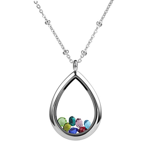 Meilanty Memory Glass Locket Pendant Floating Locket Tear Drop Floating Charms Stainless Steel Necklace For Women