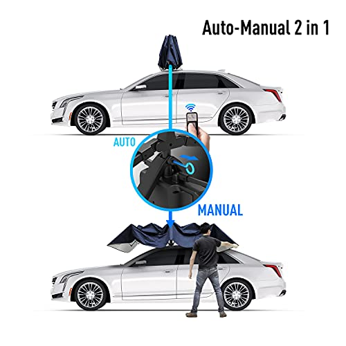 Universal Car Tent Movable Carport Folded Portable Automobile Protection Car Umbrella Sunproof Car Canopy Cover with Remote Control- Navy