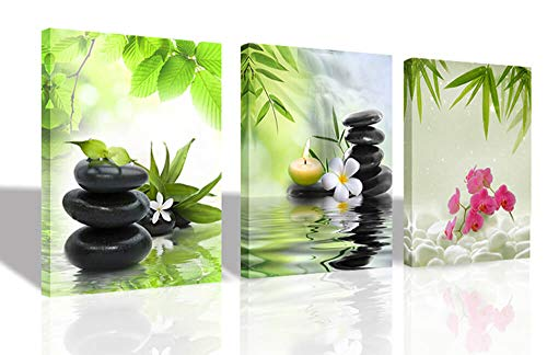 "Ardemy Canvas Wall Art Prints Zen Spa Pictures 3 Panels, Modern Butterfly Orchid Black Stones Paintings Framed Massage Treatment Artwork for Bedroom Spa Salon Bathroom Living Room Wall Decor 12""x16""x3"