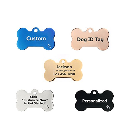 Amakunft Customized Dog ID Tags, Personalized Identity Pet Tags, Stainless Steel Engraved Dog Bone Dog Tags for Dogs and Cats