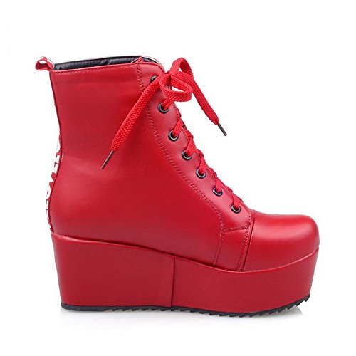 Ladies BalaMasa Platform Bandage Imitated Color Thick Bottom Boots Heel Leather Red Matching dFaCZFxwq