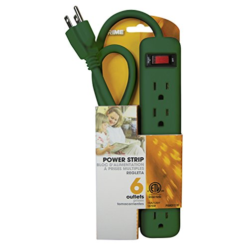6 Outlet Holiday Green Power Strip 1.5ft Cord