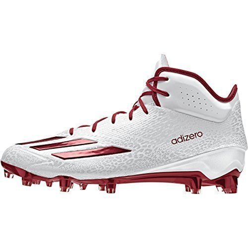 Adidas Adizero 5Star 5.0 Mid Mens Football Cleat 10.5 White-Power Red