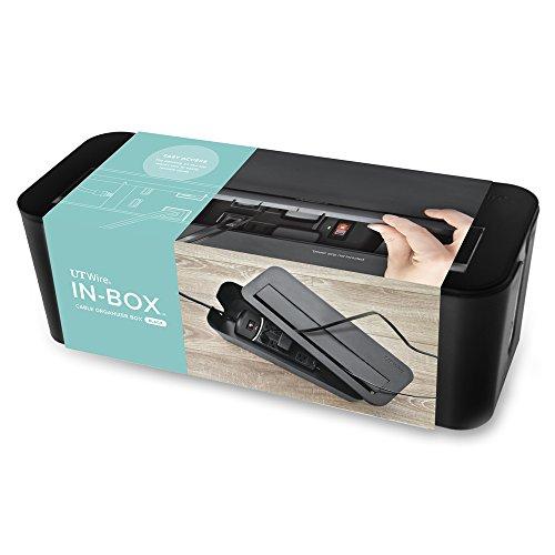 UTWire UTW-BXSM-WH-In-Box - Estación de carga móvil y caja de organización con tira de alimentación, color blanco,...