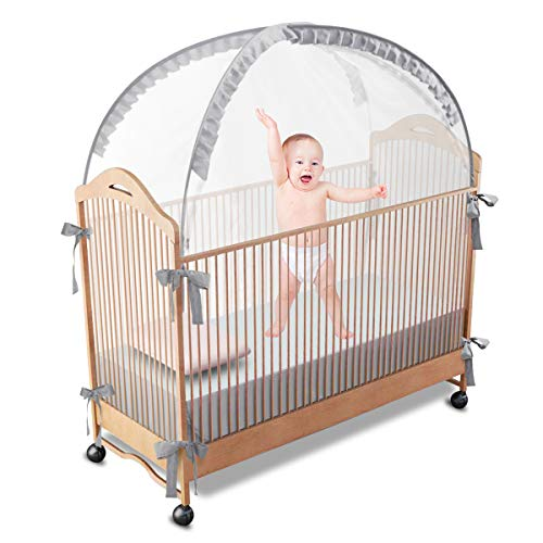 RUNNZER Baby Crib Tent Safety Crib Net to Keep Baby in,  Pop Up Crib Tent Canopy Keep Baby from Climbing Out