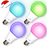 Smart Bulb, A21 Wi-Fi Smart Led Light Bulb (100W Equivalent) Compatible Amazon Alexa Google Home,App&Voice Controlled Party Bulbs Color Changing Dimmable Night Light Wake Up Lights(e26/e27) - 4 Pack