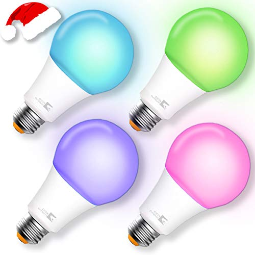 Smart Bulb, A21 Wi-Fi Smart Led Light Bulb (100W Equivalent) Compatible Amazon Alexa Google Home,App&Voice Controlled Party Bulbs Color Changing Dimmable Night Light Wake Up Lights(e26/e27) – 4 Pack