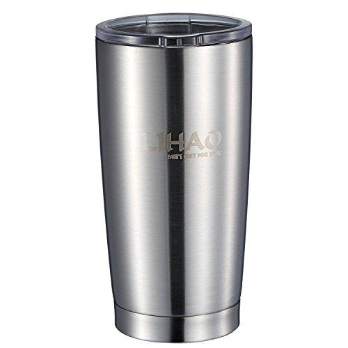 LIHAO Thermobecher Edelstahl Autobecher Kaffeebecher mit Kunststoffdeckel 20 OZ Silber Doppelwandig
