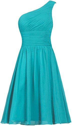 ANTS Women's Chiffon One Shoulder Bridesmaid Dresses Short Evening Dress Size 8 US Jade