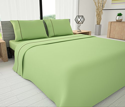 Yellow Livingston Home Pinzon 33037 625 Series Solid Sheet Set with Piping Accents Queen