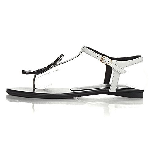 Amoonyfashion Womens Spenne Split-toe No-hæl Ku Skinn Assortert Farge Sandaler Hvit