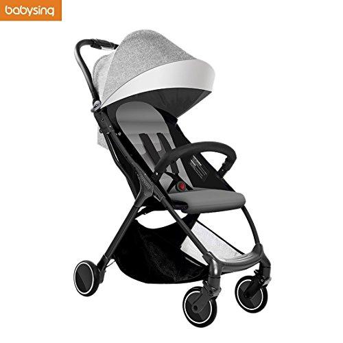 Babysing Foldable Portable Multifunctional Baby Umbrella Stroller Super Lightweight Shock Suspension Design Grey (Stroller Oxford)