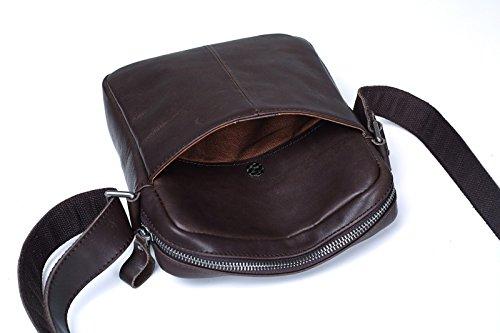 cuero de vertical cuero claro Dark de Brown de ocio hombro Dark de Brown suave hombres bolsa pulgadas hombres mochila oscuro los Los 8 Surnoy bolso marrón de marrón tAZxTZq