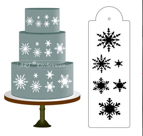 (1 piece Snowflake Side Cake Stencil Template To Print Border Wedding Party Dessert Decorating Craft Cookie Baking Tool Kitchen accessory )
