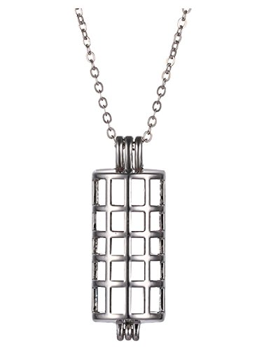 HENGSHENG Antiqued Windowpane Hollow Locket Cage Pendant Long Pearl Cage + 1 PC Chain Double Windowpane Check