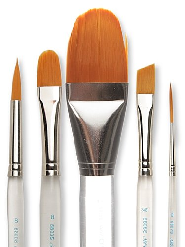 Silver Brush 6808S-012 Crystal Golden Synthetic Filament Short Handle Brush with Brown Tip and Nickel Plated Brass Ferrules, Square Wash, 1/2-Inch